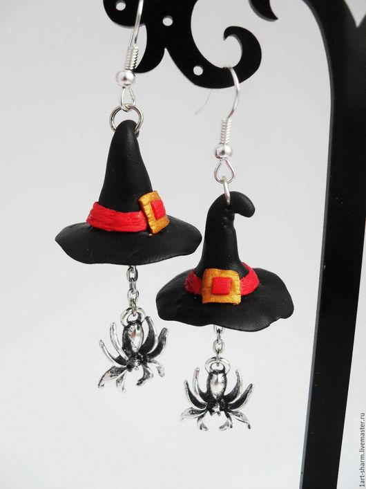 """Серьги ручной работы. Ярмарка Мастеров - ручная работа. Купить серьги на Хеллоуин """"Волшебный колпак"""". Handmade. Черный, черная шляпа"""