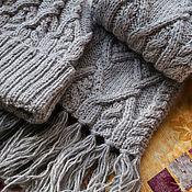 """Аксессуары ручной работы. Ярмарка Мастеров - ручная работа Серый комплект """"Классика"""" - шапка с отворотом  и шарф. Handmade."""