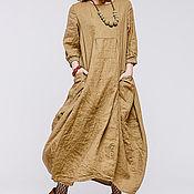 Одежда ручной работы. Ярмарка Мастеров - ручная работа Бохо платье льняное 4-17 корица. Handmade.
