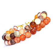 Украшения handmade. Livemaster - original item Double-row bracelet made of African and Brazilian agate. Handmade.
