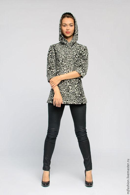 """Блузки ручной работы. Ярмарка Мастеров - ручная работа. Купить Блуза из войлочного трикотажа """"леопард"""" с капюшоном (арт. 3306). Handmade."""