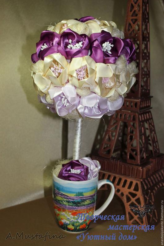"""Топиарии ручной работы. Ярмарка Мастеров - ручная работа. Купить Топиарий """"Фиолетовое настроение"""". Handmade. Фиолетовый, топиарий дерево счастья"""