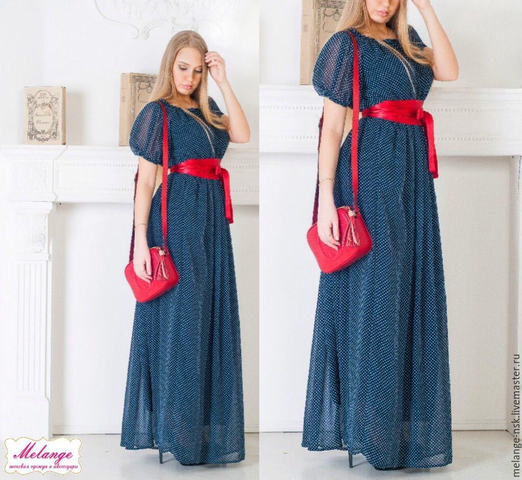 Длинное легкое шифоновое платье