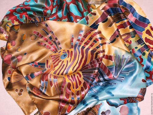 """Шали, палантины ручной работы. Ярмарка Мастеров - ручная работа. Купить Платок шелковый батик """"Коралловый риф"""". Handmade. Комбинированный"""