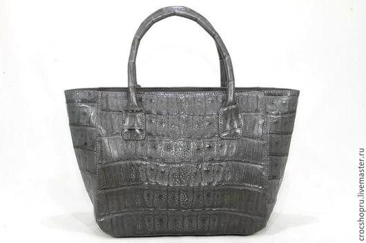 Женские сумки ручной работы. Ярмарка Мастеров - ручная работа. Купить Сумка серая женская из кожи крокодила IMA0573E4. Handmade.