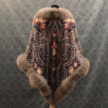 Accessories. Livemaster - original item Shawls: with fur. Handmade.