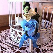 """Свадебный салон ручной работы. Ярмарка Мастеров - ручная работа Бутоньерка """"Синяя роза"""". Handmade."""
