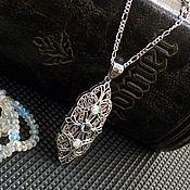 Украшения handmade. Livemaster - original item Vintage pendant silver aquamarine necklace, Ethiopian opal beads. Handmade.