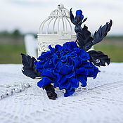Украшения handmade. Livemaster - original item Barrette leather Blue rose. Leather flowers. Decoration leather. Handmade.