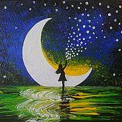 """Картины ручной работы. Ярмарка Мастеров - ручная работа """"Девочка и звезды"""" картина с месяцем и ночным небом. Handmade."""