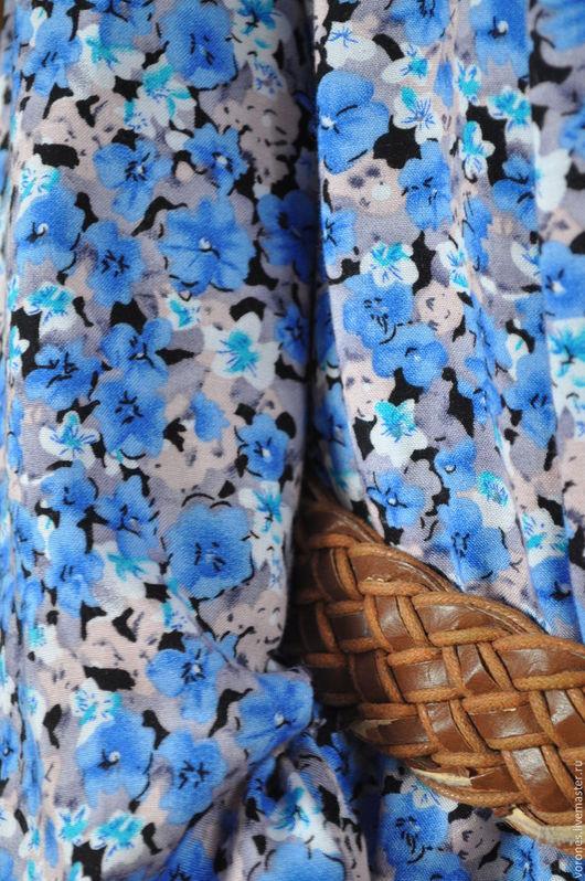 """Платья ручной работы. Ярмарка Мастеров - ручная работа. Купить Длинное платье """"Цветок льна"""". Handmade. Васильковый, штапель"""
