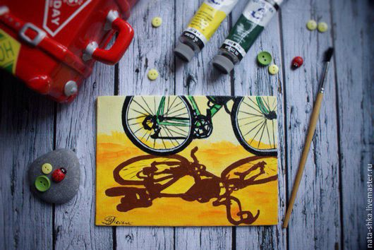 """Город ручной работы. Ярмарка Мастеров - ручная работа. Купить """"Go Green"""" (Репродукция картины Linda Apple). Handmade. Велосипед"""