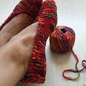 Обувь ручной работы. Ярмарка Мастеров - ручная работа тапочки вязаные. Handmade.