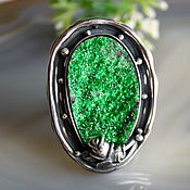 Украшения handmade. Livemaster - original item Ring Polyanka - uvarovite, silver. Handmade.