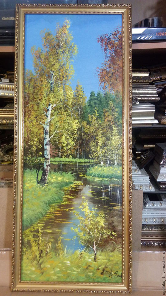 Пейзаж ручной работы. Ярмарка Мастеров - ручная работа. Купить Картина рисованная маслом Природа, в багете 85х35см. Handmade. Комбинированный