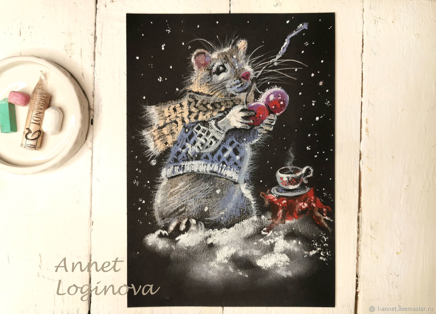 Draw a mouse, video master class, Christmas mouse, Educational materials, Moscow,  Фото №1