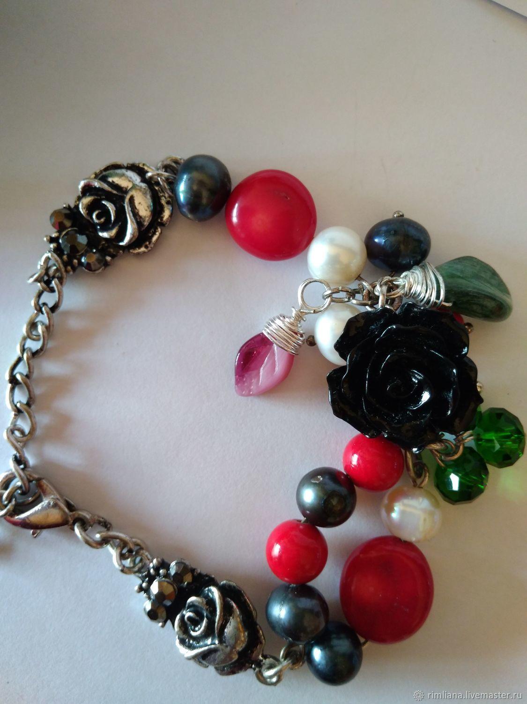 Bracelet 'Savage' Black rose, coral, pearl natural, Bead bracelet, Moscow,  Фото №1