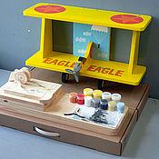 """Для дома и интерьера ручной работы. Ярмарка Мастеров - ручная работа Полка для книг """"Самолёт"""" (набор с контурами и красками) 60см. Handmade."""