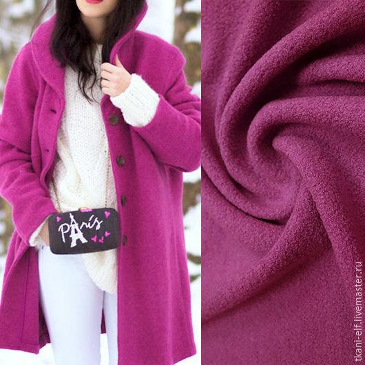Шитье ручной работы. Ярмарка Мастеров - ручная работа. Купить Шерстяная ткань лоден розово-фиолетовый. Handmade. Брусничный