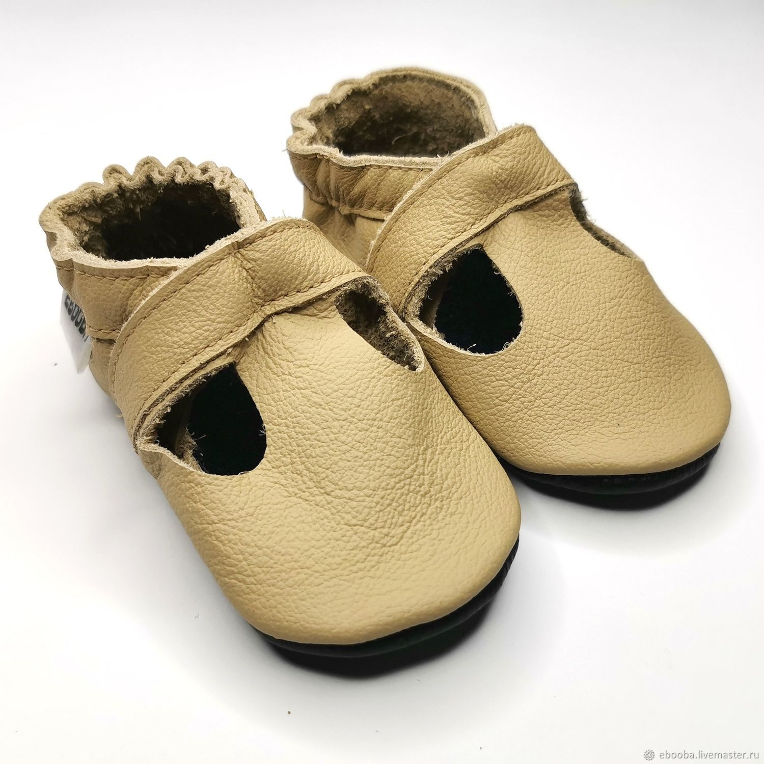 Beige Baby Sandals,Leather Baby Shoes,Baby Moccasins,Ebooba, Footwear for childrens, Kharkiv,  Фото №1