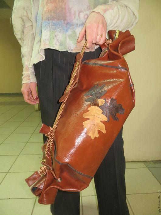 Спортивные сумки ручной работы. Ярмарка Мастеров - ручная работа. Купить Кожаная сумка Дубовый лист. Handmade. Рыжий