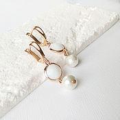 Украшения handmade. Livemaster - original item White pearl earrings for every day Wedding earrings. Handmade.