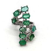 handmade. Livemaster - original item Stylish emerald silver ring. Handmade.