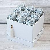 Цветы и флористика ручной работы. Ярмарка Мастеров - ручная работа Стильная коробка со стабилизированными розами в подарок женщине. Handmade.