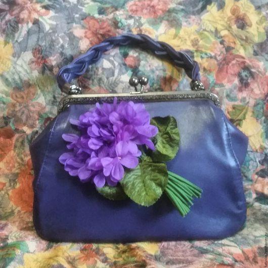 Женские сумки ручной работы. Ярмарка Мастеров - ручная работа. Купить Сумка из кожи с цветком. Handmade. Тёмно-синий