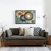 Картины и панно handmade. Livemaster - original item Textured pattern for interior Circles 70h50. Handmade.