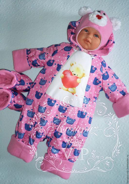 """Одежда ручной работы. Ярмарка Мастеров - ручная работа. Купить Комплект для прогулок """"Мишутка"""" (бронь). Handmade. Комбинированный, комбинезон детский"""