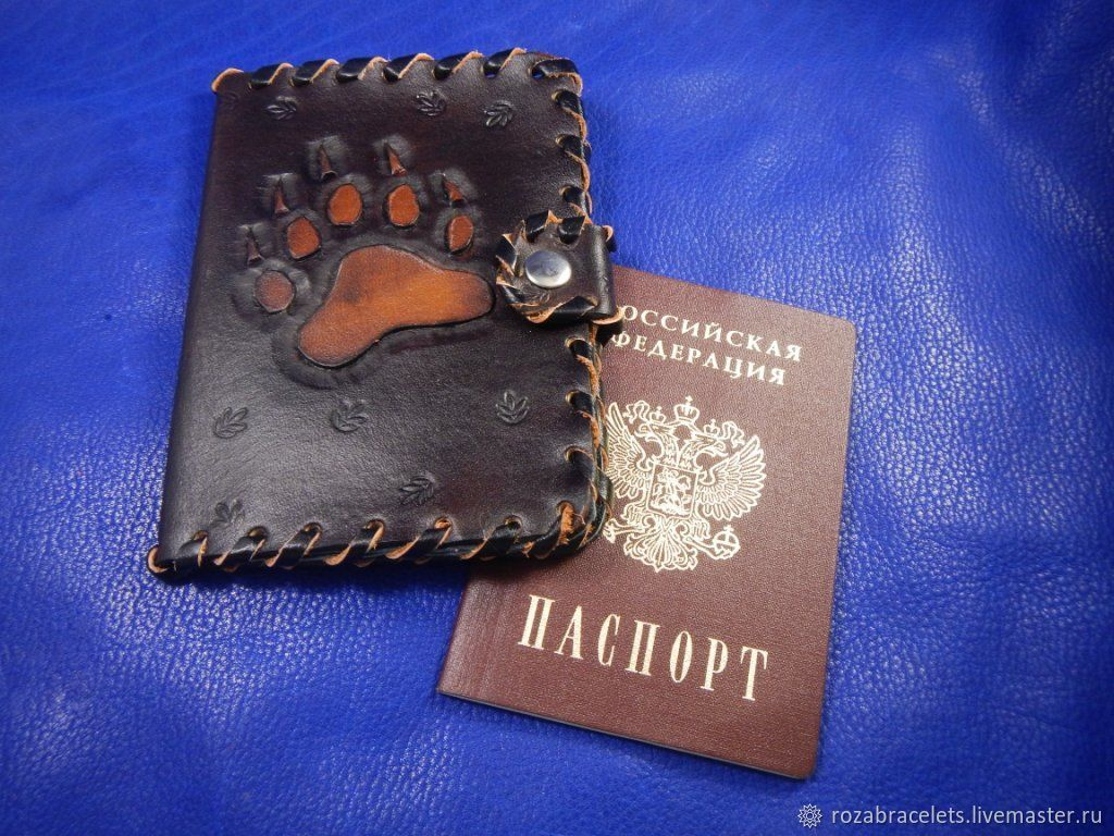 Leather passport cover with magnetic closure embossed with Bearish paw, Cover, Ulyanovsk,  Фото №1