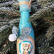 Бутылки ручной работы. Ярмарка Мастеров - ручная работа Новогоднее шампанское с символом 2020 года. Handmade.
