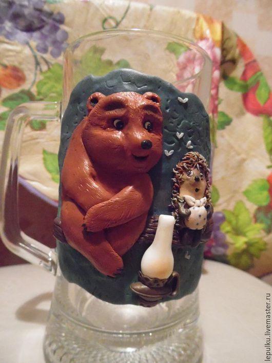 """Кружки и чашки ручной работы. Ярмарка Мастеров - ручная работа. Купить Кружка с декором из полимерной глины. """"Ежик в тумане"""". Handmade."""