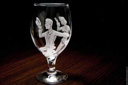 Кружки и чашки ручной работы. Ярмарка Мастеров - ручная работа. Купить Бокал, подарок даме Арт Деко про любовь гравировка. Handmade.