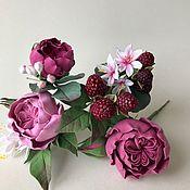 Свадебный салон handmade. Livemaster - original item Studs with roses and berries from polymer clay. Handmade.