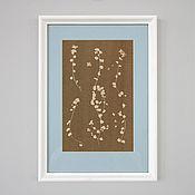 Картины и панно ручной работы. Ярмарка Мастеров - ручная работа Бежевый ботанический принт в рамке. Handmade.