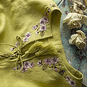 Одежда ручной работы. Ярмарка Мастеров - ручная работа Платье льняное с ручной вышивкой. Handmade.