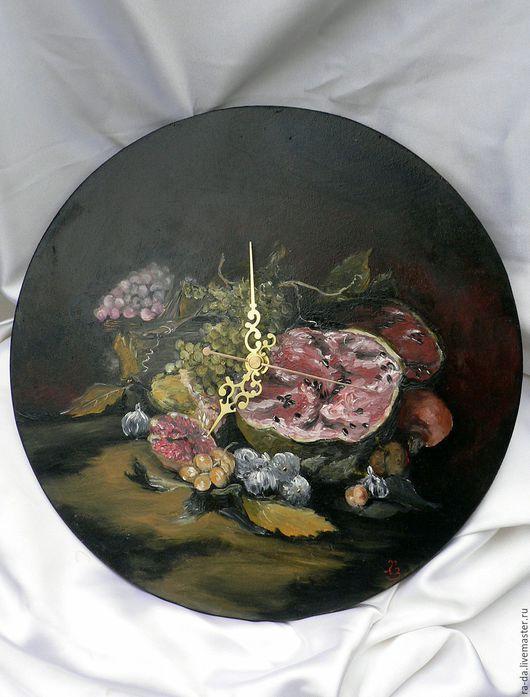 """Часы для дома ручной работы. Ярмарка Мастеров - ручная работа. Купить Часы настенные """"Натюрморт с фруктами"""". Handmade. Разноцветный, мастер"""