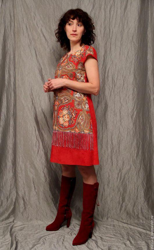 """Платья ручной работы. Ярмарка Мастеров - ручная работа. Купить Платье """"Сольвейг"""" из красной замши и павловопосадского платка. Handmade."""