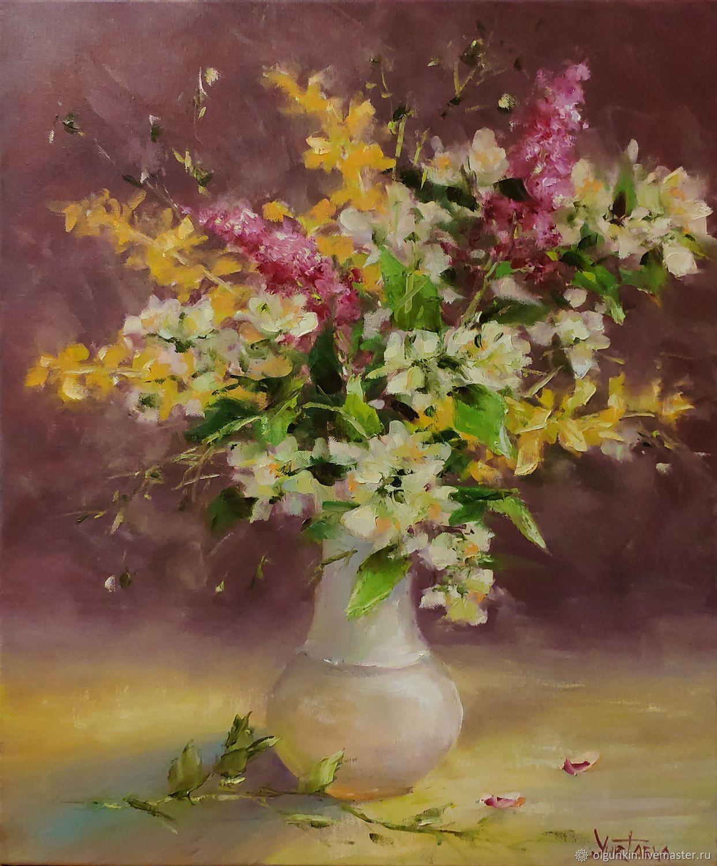 Картины цветов ручной работы. Ярмарка Мастеров - ручная работа. Купить Букет с жасмином. Handmade. Цветы, нежность, букет