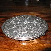 Антикварная пудреница серебро 800 пр вензель Австрия 19 век