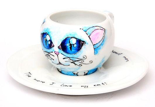 """Сервизы, чайные пары ручной работы. Ярмарка Мастеров - ручная работа. Купить Чайная пара """"Котенок"""". Handmade. Кот, год кота"""