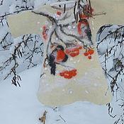 Работы для детей, ручной работы. Ярмарка Мастеров - ручная работа Валяное платье для малышки Снегири на  рябине. Handmade.