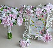 Цветы и флористика ручной работы. Ярмарка Мастеров - ручная работа Свадебный букет нежные пионы. Handmade.