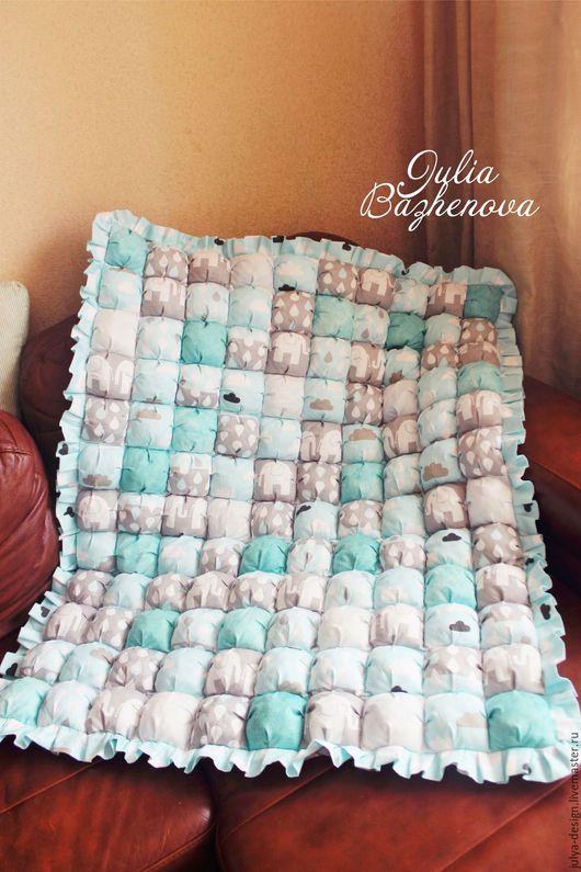 Для новорожденных, ручной работы. Ярмарка Мастеров - ручная работа. Купить Одеялко - игровой коврик для малыша.. Handmade. Голубой, пуфик