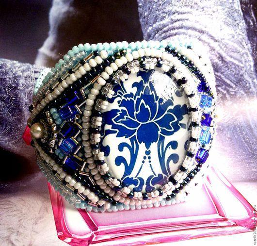 Браслет вышитый бисером ,,Синий, синий иней,, Браслет ручной работы. Вышивка бисером. Сказочный синий цветок. Ярмарка Мастеров. Мастер Натэлла Шемякина.