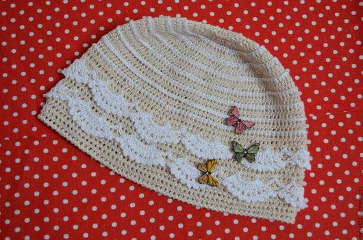 Одежда для девочек, ручной работы. Ярмарка Мастеров - ручная работа. Купить вязаная шапочка. Handmade. Вязаная шапочка, бежевый