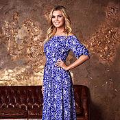 Одежда ручной работы. Ярмарка Мастеров - ручная работа Летнее платье в пол, длинное синее платье с цветочным принтом. Handmade.