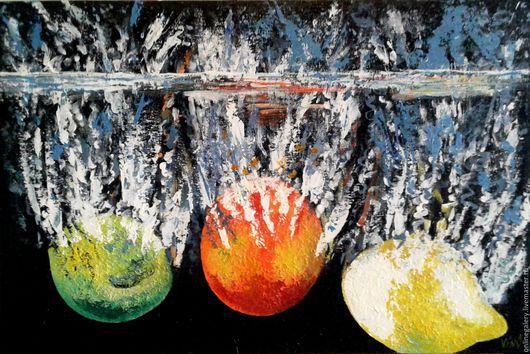 """Натюрморт ручной работы. Ярмарка Мастеров - ручная работа. Купить Картина """"Фруктовый всплеск"""" акрил 40х60см. Handmade. Комбинированный, вода"""